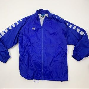 Adidas Team Blue Full Zip Track Rain Jacket LG